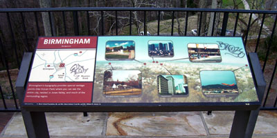 Interpretive sign at Vulcan Park tagged