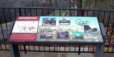 Another interpretive sign at Vulcan Park vandalized